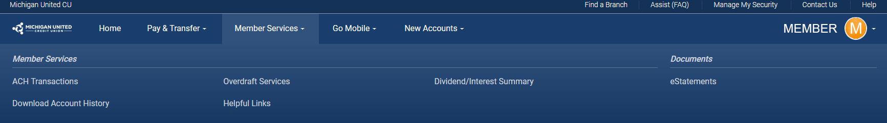 member services screenshot online banking