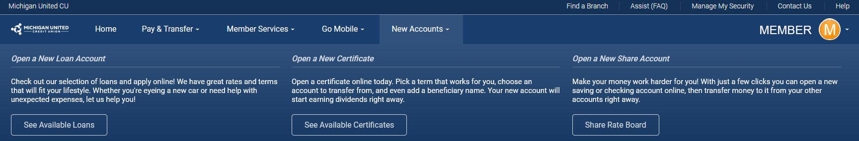 new account online banking screenshot