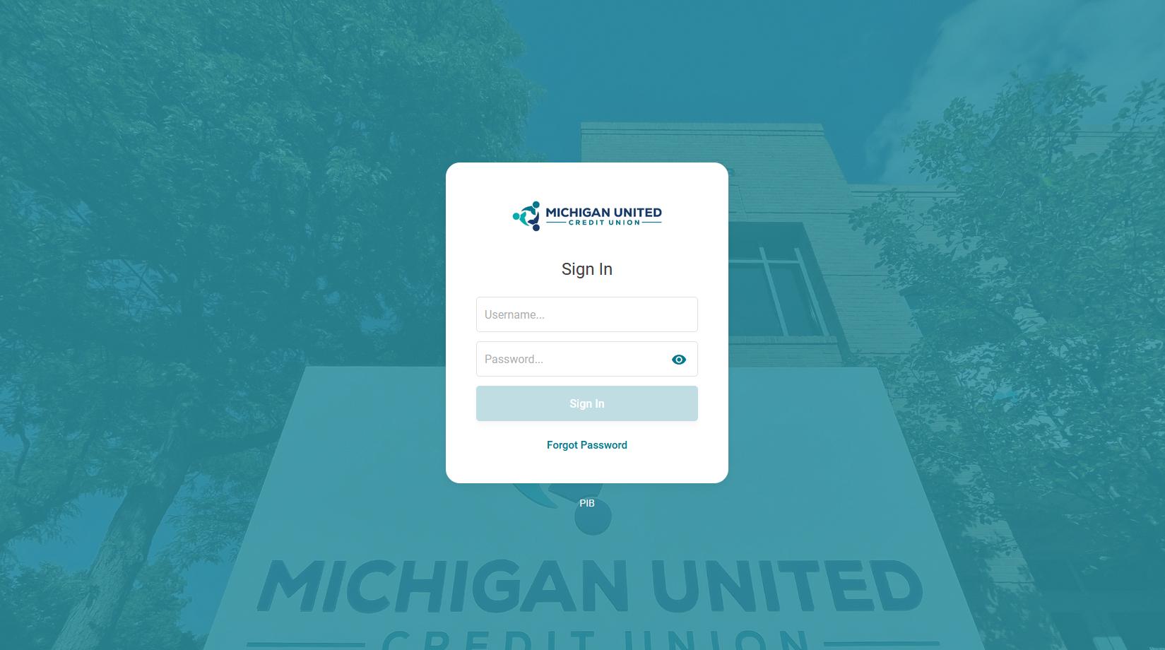 Online banking Sign in screenshot
