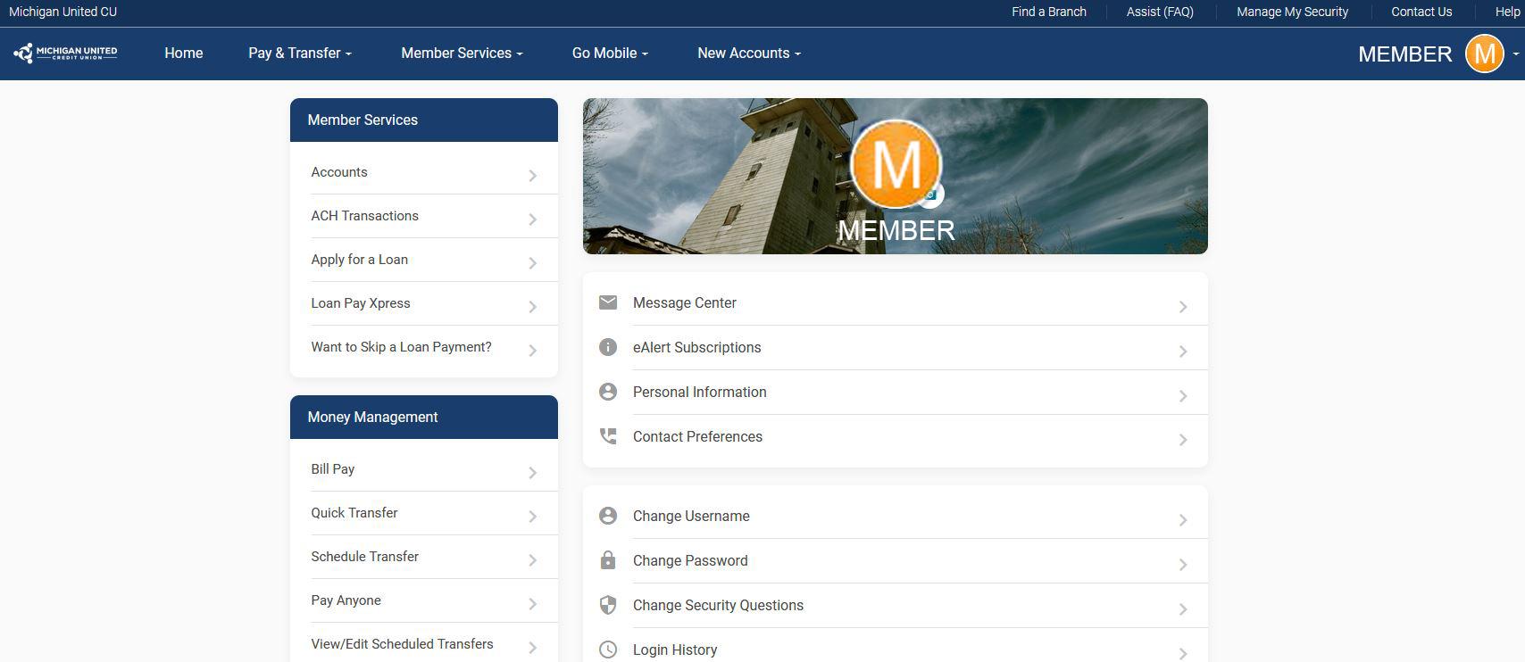 personal profile screenshot online banking