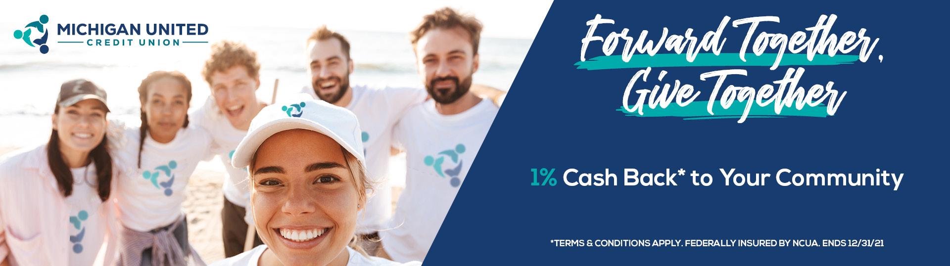1% cash back community promo banner